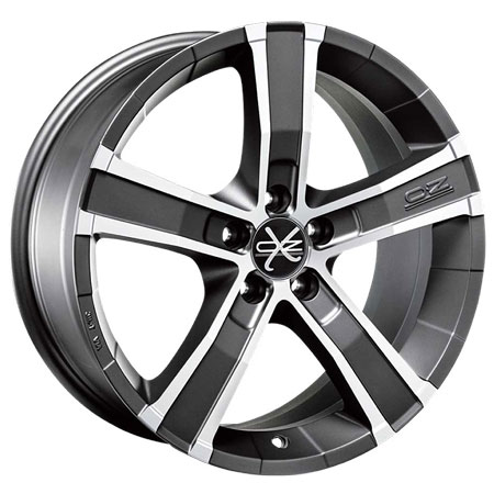 OZ 5X114.3 17X8 ET40 SAHARA 5 Matt Graphite Diamond Cut 79