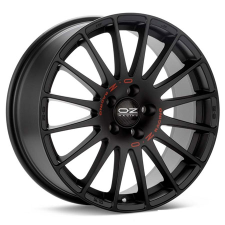 OZ 5X115 17X8 ET40 SUPERTURISMO GT Matt Black Red Lettering