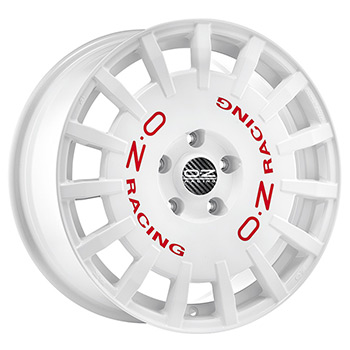 OZ 5X114.3 17X8 ET45 RALLY RACING White Red Lettering