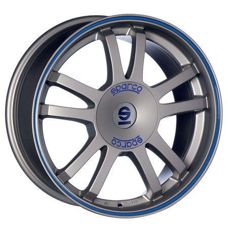SPARCO 5X100 16X7 ET35 SPARCO RALLY Matt Silver Tech Blu Lip 63,4