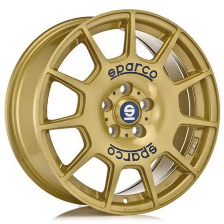 SPARCO 5X100 17X7.5 ET48 SPARCO TERRA Race Gold Blue Lettering 63,4